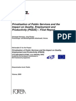 Privatisation of Public Services and the  Impact on Quality, Employment and  Productivity (PIQUE) – Final Report