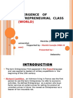 Emergence of Entrepreneurial Class