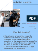 Methods of Marketing Research- Interview