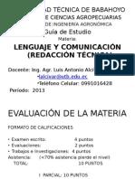 Técnicas de La Comunicación Lenguaje y Redacción
