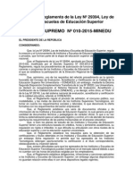 D.S. N° 010 - 2015 Modif. Reglto de Ley Nº 29394-1