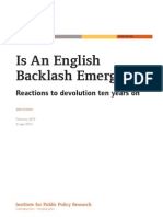 Is An English Backlash Emerging? Reactions to devolution ten years on