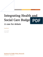 Integrating Health and Social Care Budgets