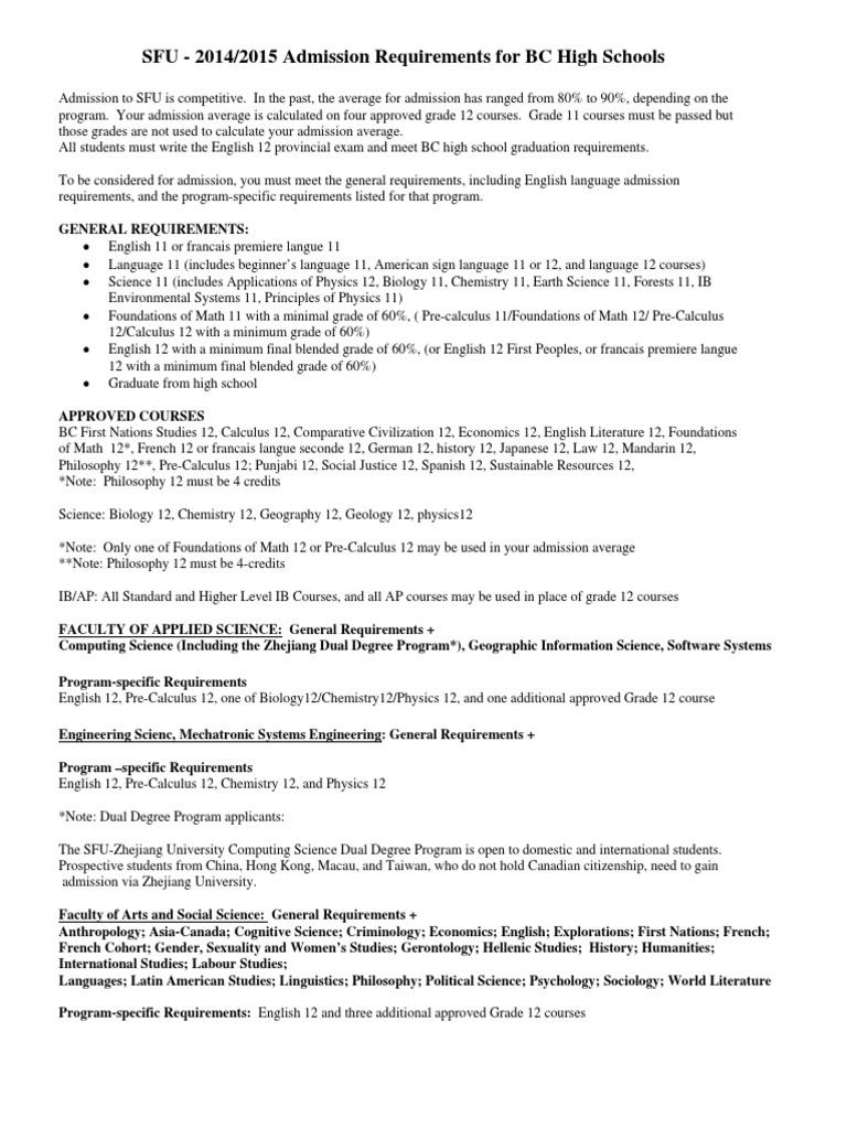 Simon Fraser University Admission Requirements | University