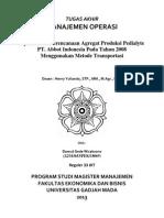 246437642 Optimalisasi Perencanaan Agregat Produksi Pedialyte Abbot Indonesia Pada Tahun 2008 Menggunakan Metode Transportasi