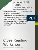 close reading workshop 1