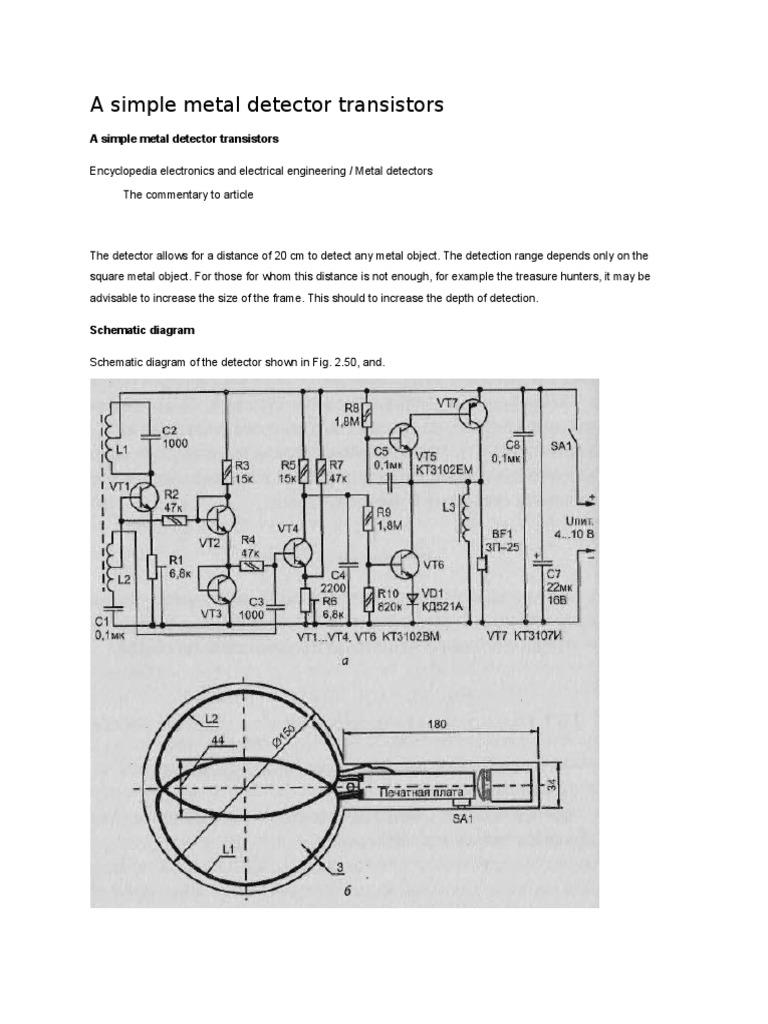 A Simple Metal Detector Transistors Radio Circuit Diagram