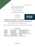 Transmission d'Énergie Sans Fil. Application Au Réveil à Distance de Récepteurs en Veille Zéro Consommation