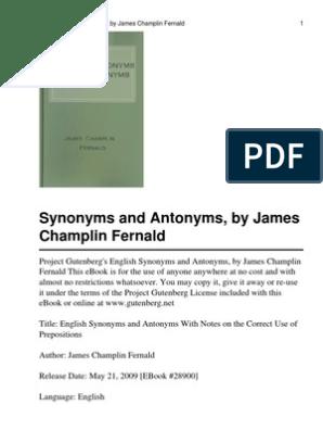 English Synonyms and Antonym | English Language | Project