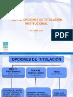 Opcines de Titulacion 2009