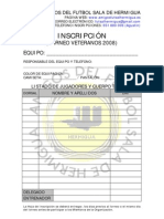Inscripcion VETERANOS 2008