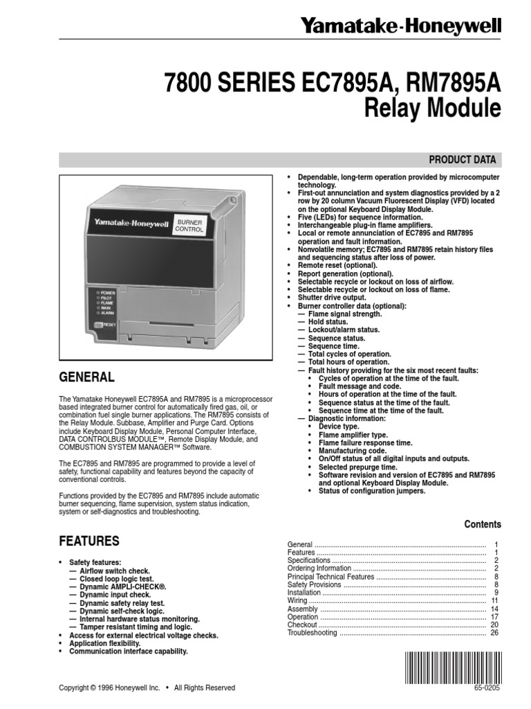 Honeywell Flame Safeguard 7800 Wiring Diagram Libraries Burner Control Electrical Relayhoneywell 12