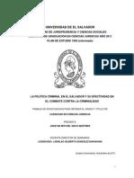 La Política Criminal en El Salvador y Su Efectividad en El Combate Contra La Criminalidad