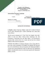 Affidavit of Witness - Rogelio Que