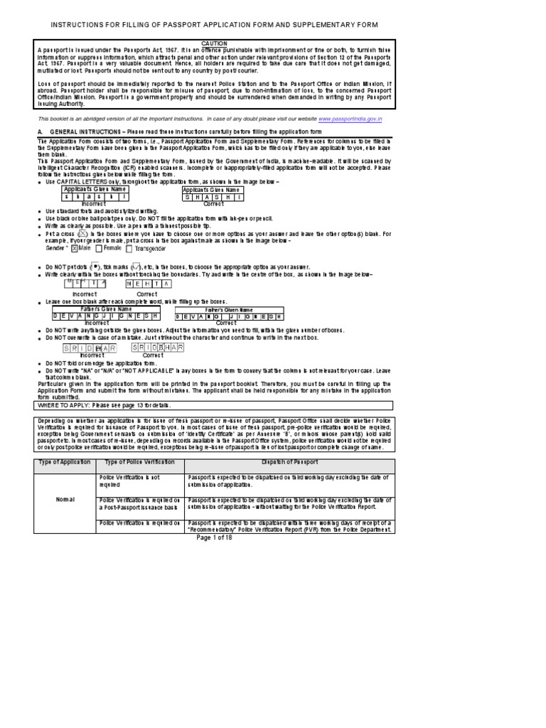Instructions for filling of passport application form and instructions for filling of passport application form and supplementary form applicationforminstructionbooklet v30pdf passport government falaconquin