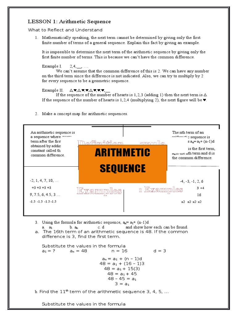 Written Report Arithmetic Sequence | Sequence | Mathematical Objects