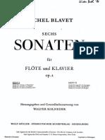M.blavet Sei Sonate Per Flauto e Klavier (1-2-3-)