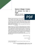 Valagussa-Riserva e Rifugio. L'Ombra Del Pensare Tra Kant e Hegel