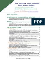 Health, Education, Social Protection News & Notes 05/2010