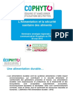 L'alimentation et la sécurité sanitaire des aliments - Séminaire du 30/05/2013