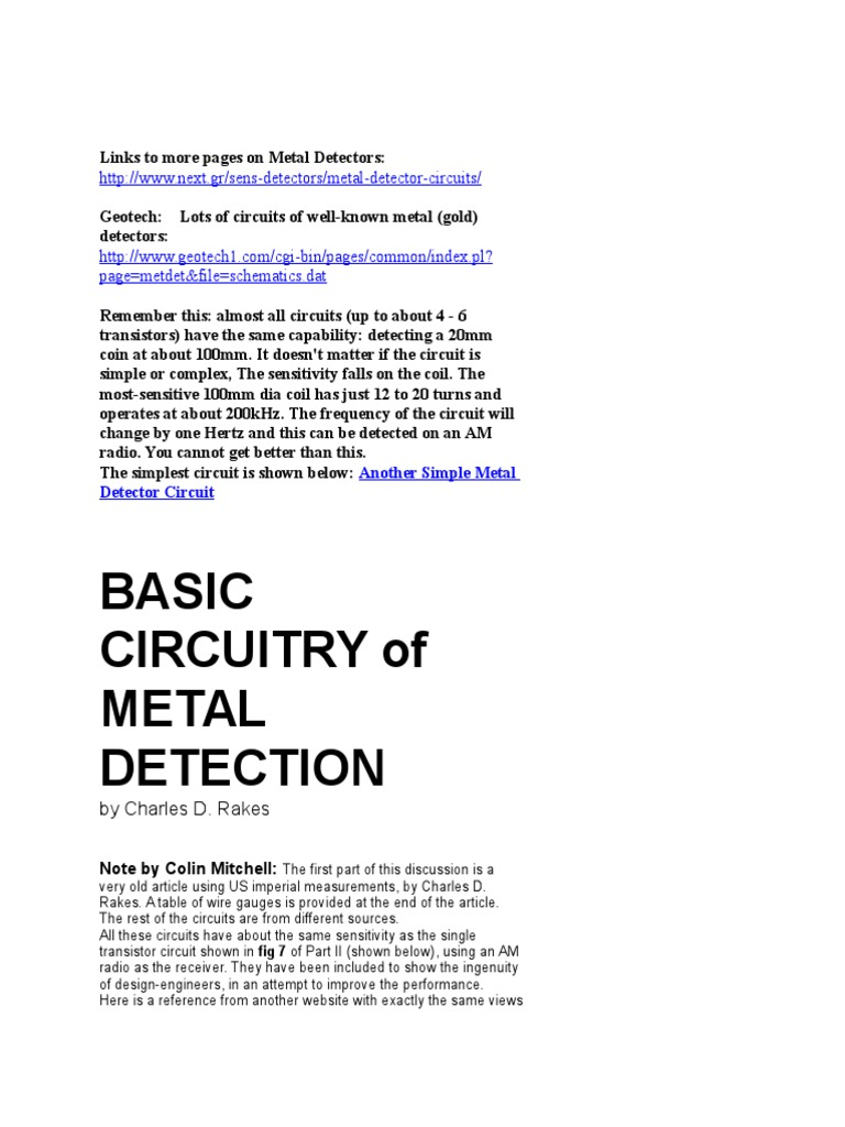 Metal Detector Circuit Sensors Detectors Circuits Nextgr T Pin Simple Diagram Using Cs209a On Pinterest Of Light Sensitive Devices Such As The Ldr Dependent Resistor Photodiode Phototransistor And Pir Passive Infrared