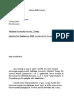 Letter of Motivation for erasmus