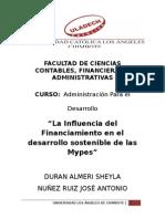 La Influencia del Financiamiento en el desarrollo sostenible de las Mypes