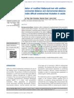 Validación de Mallampati Modificado Con Adición de Distancia Tiromentoniana y Distancia Esternomentoniana Para Predecir Intubación Endotraqueal Difícil en Adultos