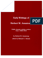 Early Writings of Herbert W. Armstrong Edited by R.C. Nickels
