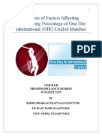 Analysis of Factors Affecting the Winning Percentage ODI Cricket Matches