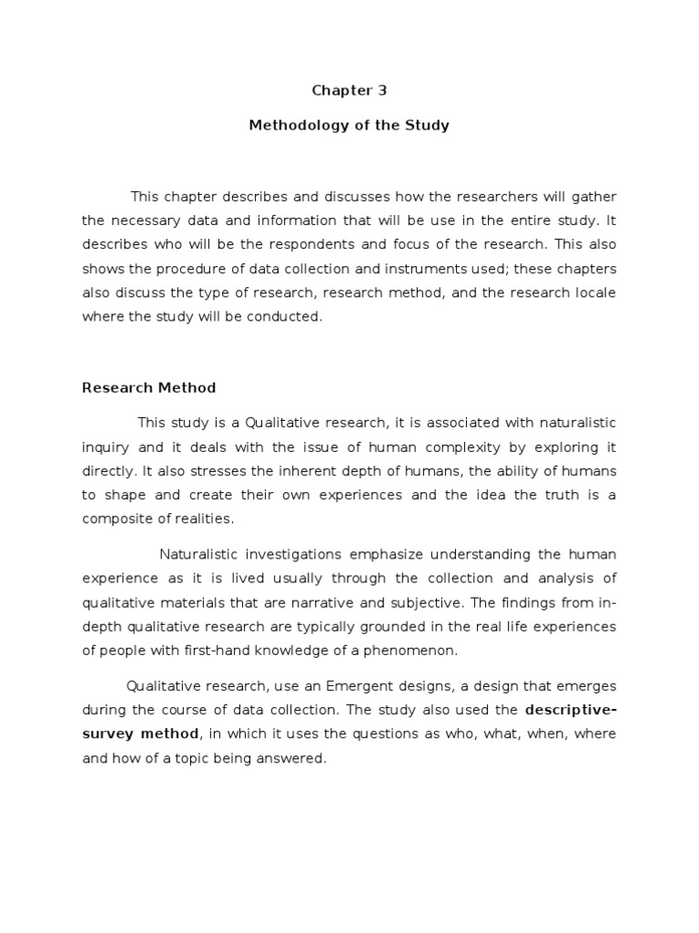 Chapter 3 Methodology Of The Study on Picture Interest Career Survey