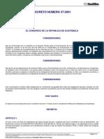 21684 DECRETO DEL CONGRESO 37-2001 Decreto Crea Bonificacion Inentivo