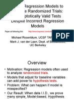 Using Regression Models to Analyze Randomized Trials