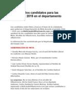 Los Candidatos Para Las Elecciones 2015 en El Departamento de Meta