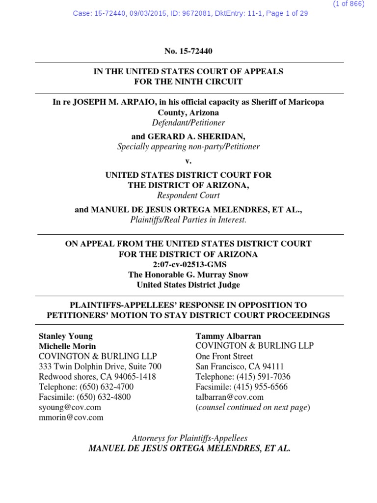15 72440 11 Plaintiffs Opp To Motion To Stay Judicial