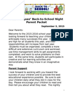 back to school night parent packet