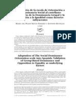Adaptación de La Escala de Orientación a La Dominancia Social - Del Prado Silván