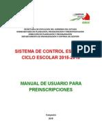 Manual de Usuario - Preinscripciones SEDUC
