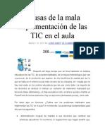 Causas de La Mala Implementación de Las TIC en El Aula