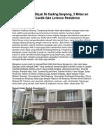 Iklan Rumah Dijual Di Gading Serpong, 3 Miliar an Rumah Cantik San Lorenzo Residence