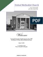 Spiro First United Methodist Church Worship Bulletin - March 07, 2010