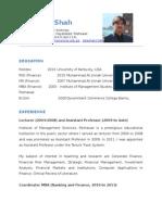 CV of Attaullah Shah, Imsciences 2013