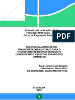 Dimensionamento de um transportador continuo para o transporte de minerio de bauxita