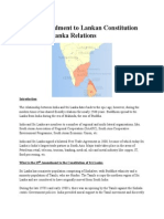 13th Amendment in Lankan Const Nd Indo Lanka Relation