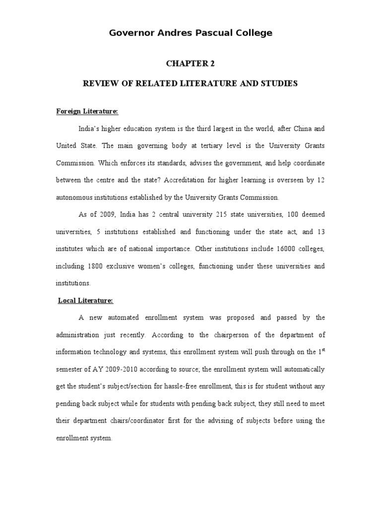 enrollment system methodology of study