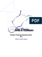 CLOSING Project Closure Questionnaire Electronic Form