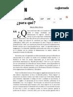 La Jornada- Filosofía, ¿Para Qué