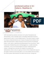 Revisiting Transitional Justice in Sri Lanka the Rhetoric, Realities & Opportunities