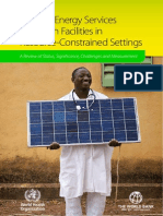 Modern Energy Services for Health Facilities in Resource-constrained Settings WHO Report
