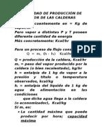 Capacidad de Las Calderas